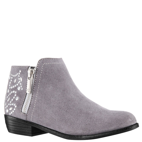 Back Studded Zip Boot - Grey