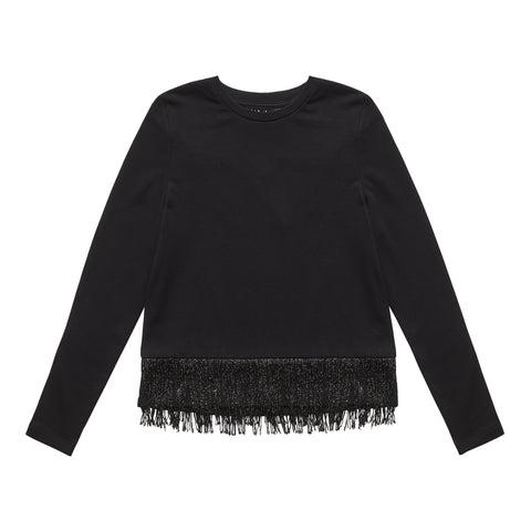 Sparkle Fringe Sweatshirt - Black
