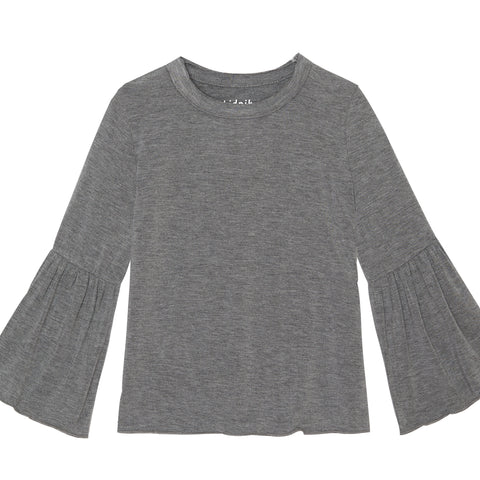 Bell Sleeve Top - Medium Heather Grey