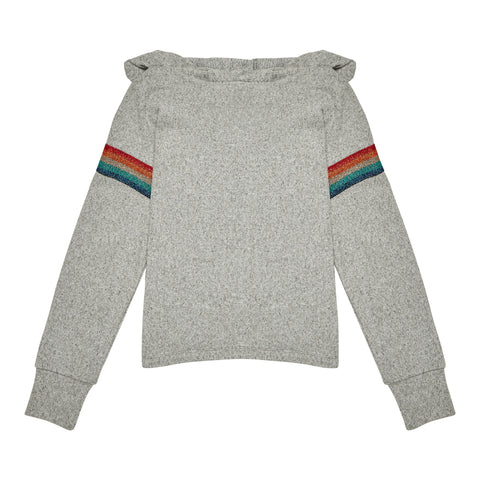 Rainbow Stripe Hoodie - Medium Heather Grey