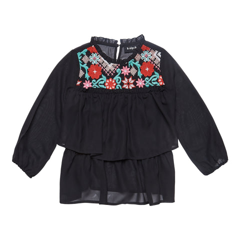 Embroidered Flounce Top - Black