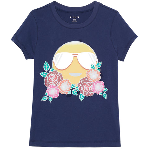 Rose Emoji Graphic Tee - Kidpik Navy