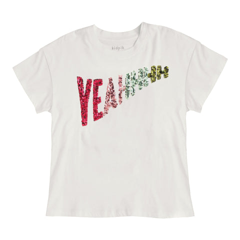 Yeahhh Sequin Tee - Kidpik Cream