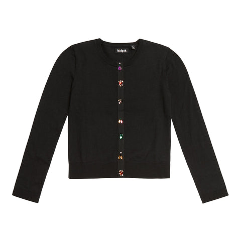 Jeweled Cardigan - Black