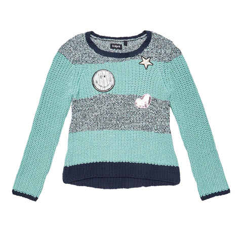 Patched Marled Sweater - Dusty Jade Green