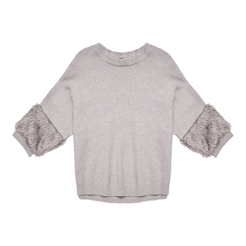 Fur Sleeve Sweater - Medium Heather Grey