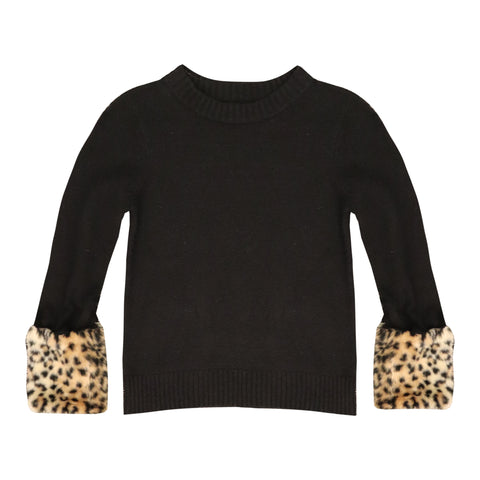 Leopard Fur Cuff Sweater - Black