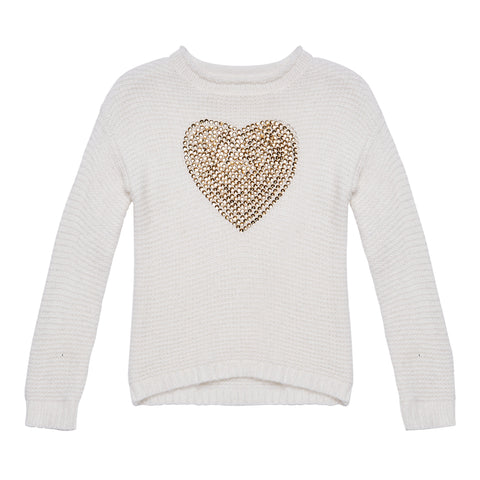 Sequin Heart Sweater - Kidpik Cream