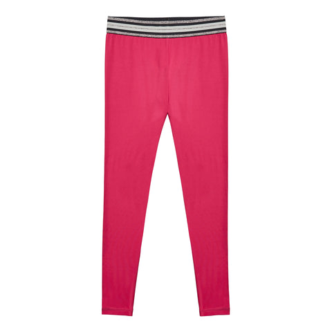 Metallic Waist Active Legging - Pink Peacock