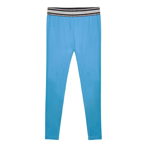 Metallic Waist Active Legging - Aquatic Blue