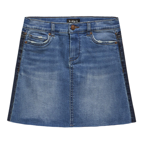 Color Block Denim Skirt - Elm Wash