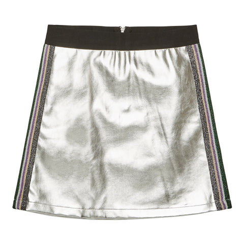 Side Taped Pleather Skirt - Silver