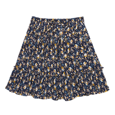 Mini Pleated Floral Skirt - Kidpik Navy