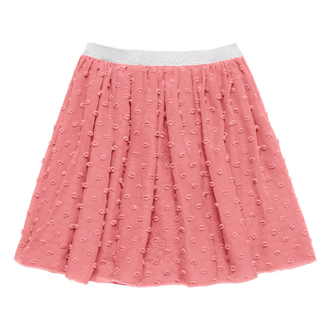 Textured Dot Chiffon Skirt - Wild Rose