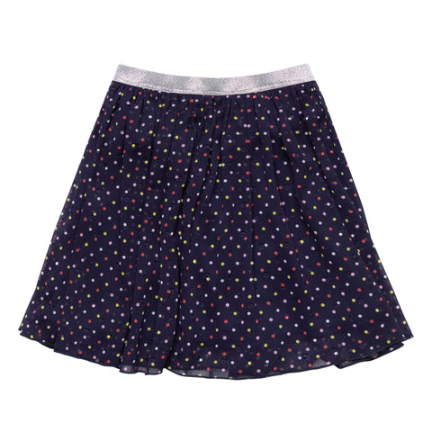 Multi Dot Chiffon Skirt - Kidpik Navy