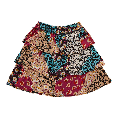 Wavy Floral Ruffle Skirt - Multi