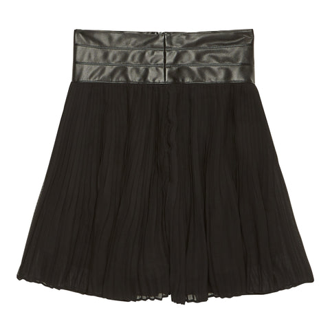 Chiffon Pleated Pleather Trim Skirt - Black