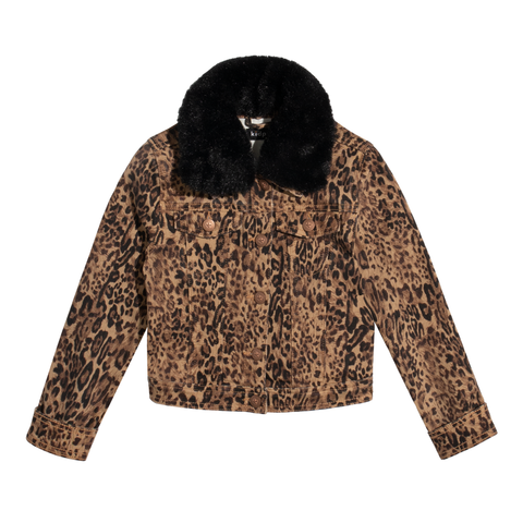Leopard Fur Trim Jacket - Sugar Almond