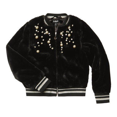 Jeweled Fun Fur Jacket - Black