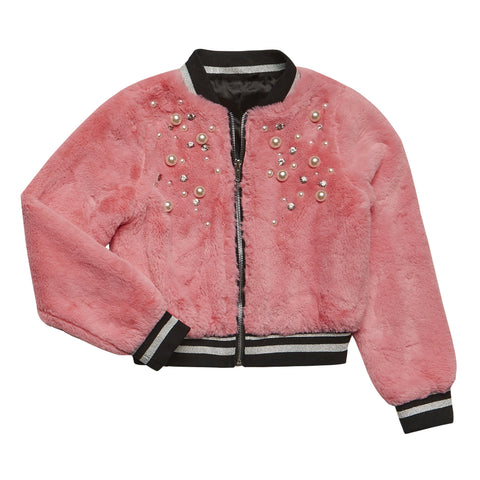 Jeweled Fun Fur Jacket - Geranium Pink