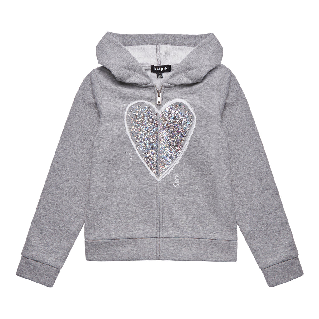 Sequin Heart Fleece Zip Up