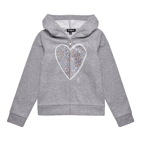 Sequin Heart Fleece Zip Up - Medium Heather Grey