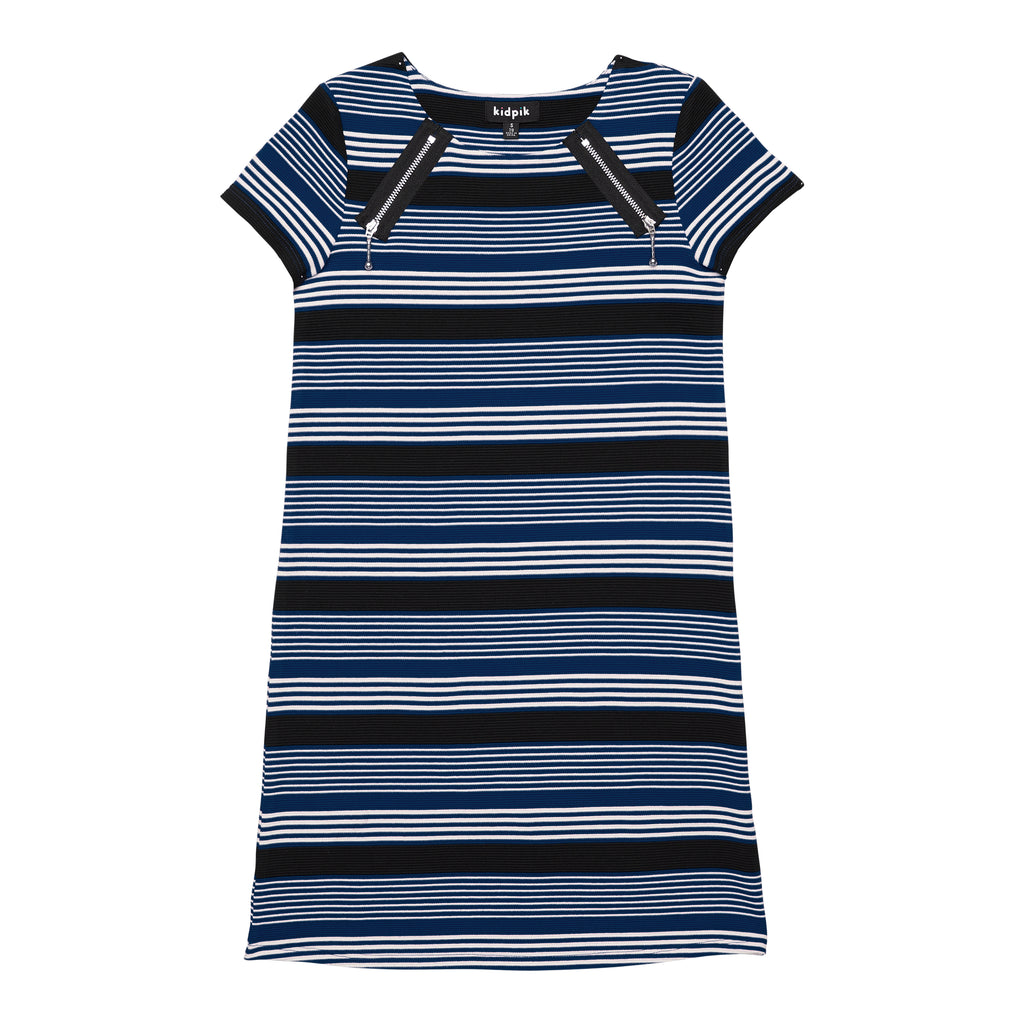 Stripe Zip Shoulder A-line Dress