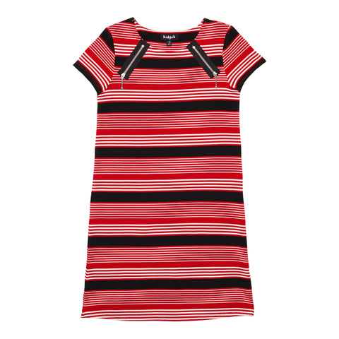 Stripe Zip Shoulder A-line Dress - Lychee