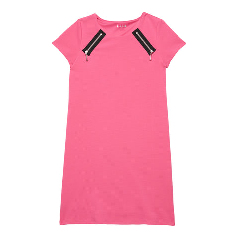 Zip Shoulder A-line Dress - Shocking Pink