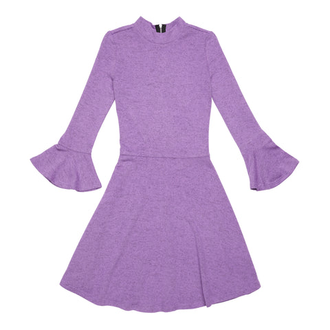 Marled Bell Sleeve Dress - Sheer Lilac
