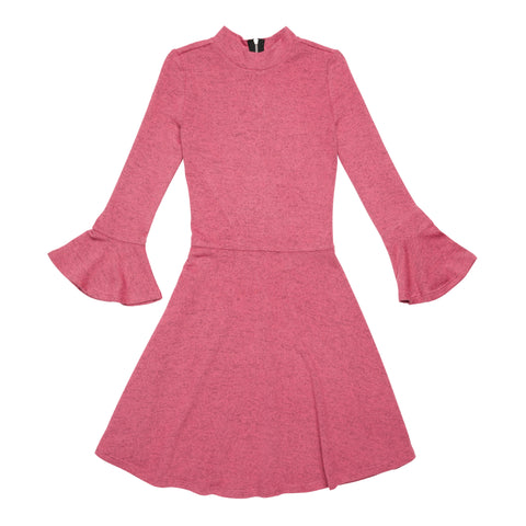 Marled Bell Sleeve Dress - Shocking Pink