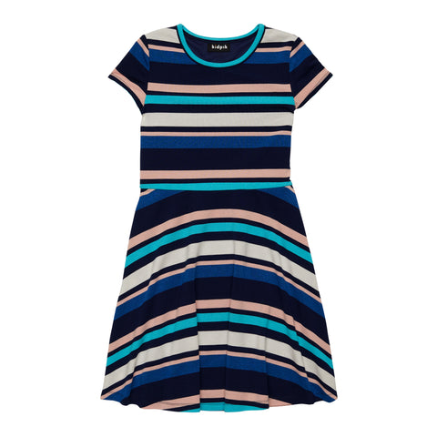 Variegated Strip Skater Dress - Kidpik Navy