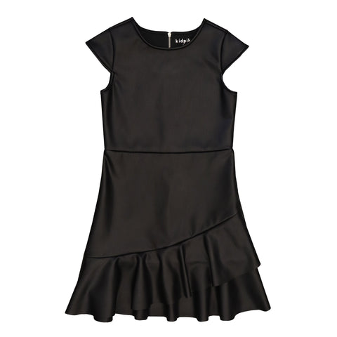 Ruffle Pleather Dress - Black