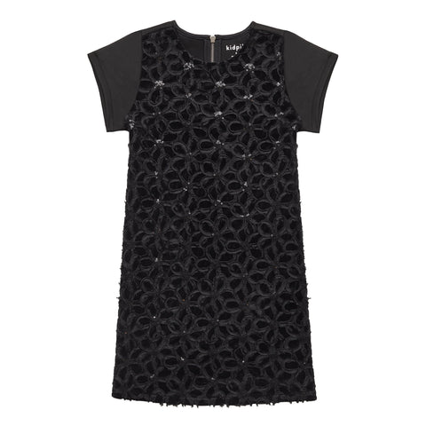 Novelty Velvet A-line Dress - Black