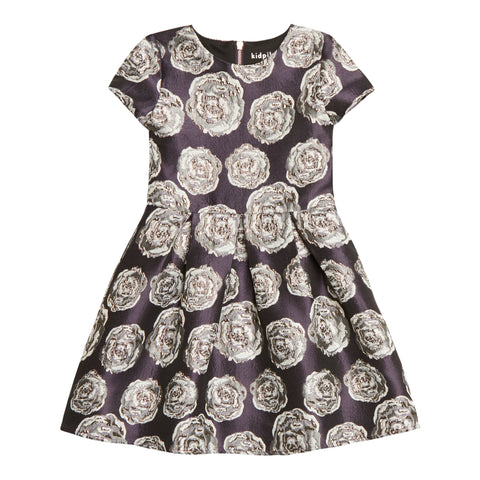 Floral Pleated Cap Sleeve Dress - Winter Bloom