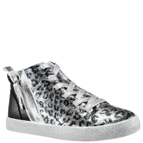 Leopard Crackle High Top - Silver