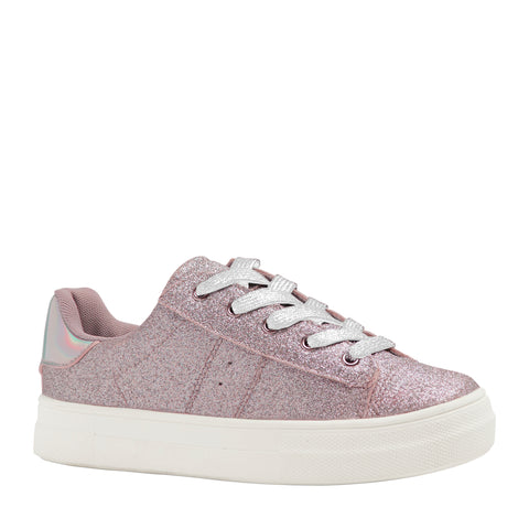 Baby Glitter Side Up Zip Sneaker - Blush