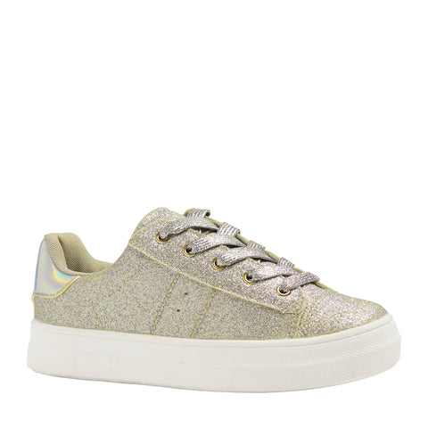 Baby Glitter Side Up Zip Sneaker - Gold