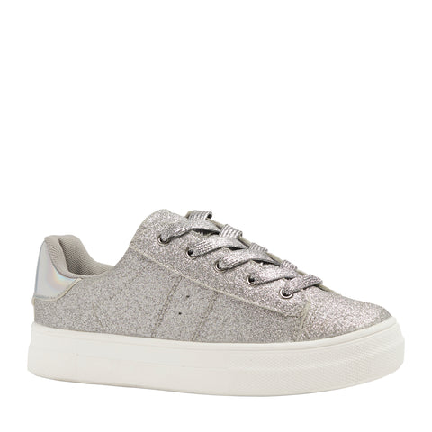Baby Glitter Side Up Zip Sneaker - Silver