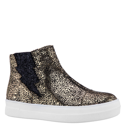 Crackle Metallic Bolt Sneaker - Gold