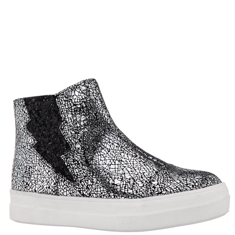 Crackle Metallic Bolt Sneaker - Silver