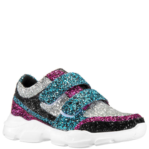 Color Block Chunky Glitter Sneaker - Black