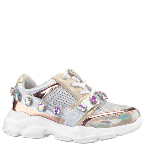 Mesh Jeweled Sneaker - Silver