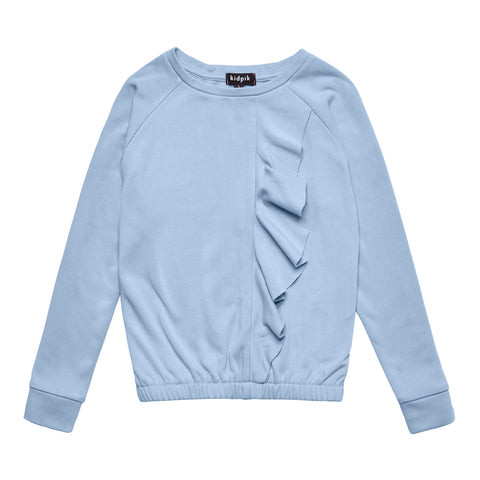 Cascading Ruffle Fleece Top - Blue Bell