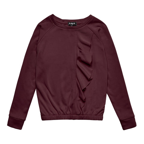 Cascading Ruffle Fleece Top - Blackberry Wine