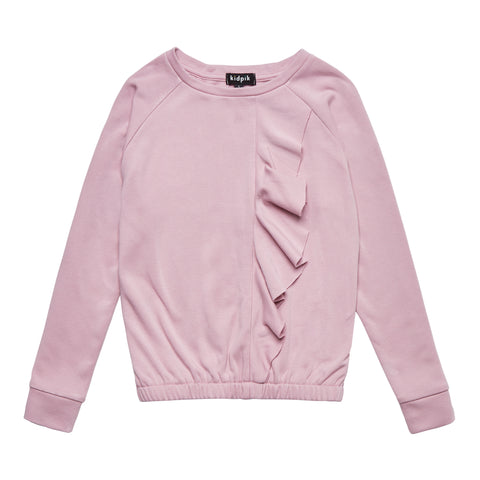 Cascading Ruffle Fleece Top - Pink Nectar