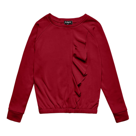 Cascading Ruffle Fleece Top - Rumba Red