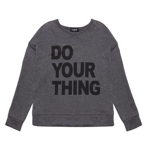 Do Your Thing Fleece Top - Dark Heather Grey