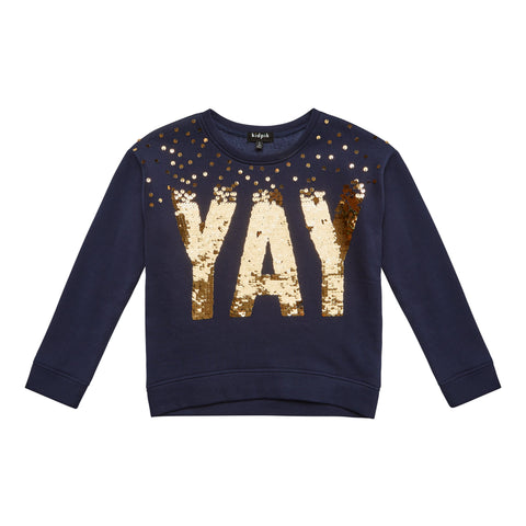 Yay Fleece Top - Kidpik Navy