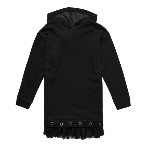 Grommet Fleece Tunic - Black